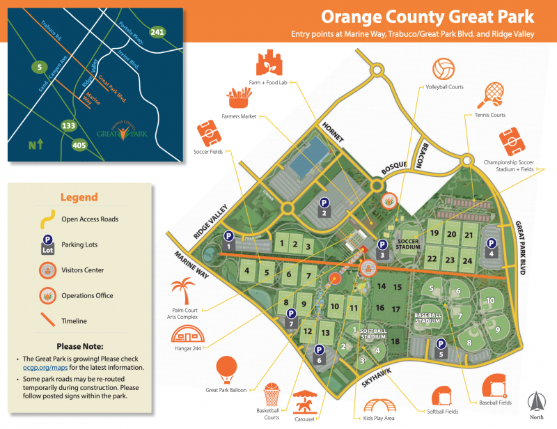 OC Great Park Sports Map